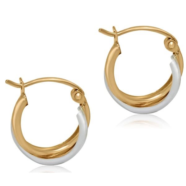 Gioelli 14k Two-tone Gold High Polish Half-hoop Earrings