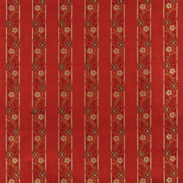 A0013G Red Brown Gold Ivory Striped Floral Brocade Upholstery Fabric (By The Yard)