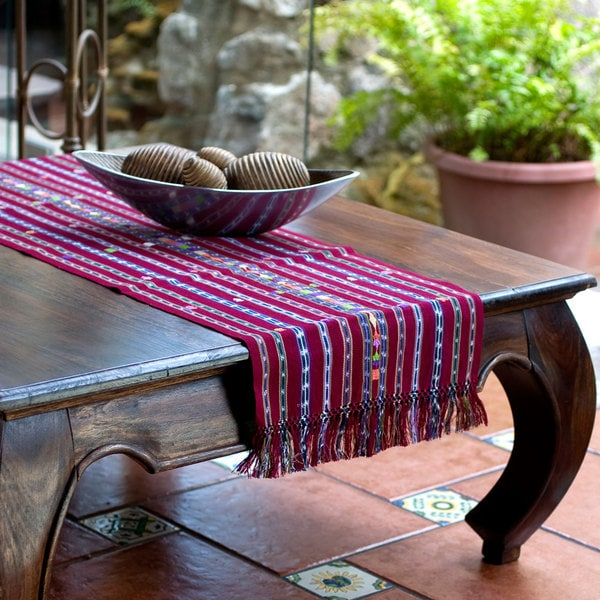 Handcrafted Cotton 'Maya Wine' Table Runner (Guatemala)