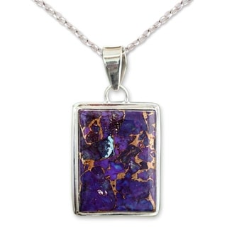 Sterling Silver 'Purple Mystique' Turquoise Necklace (India)