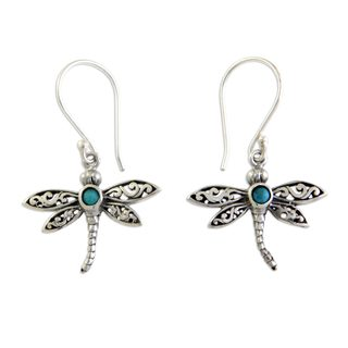 Sterling Silver 'Enchanted Dragonfly' Turquoise Earrings (Indonesia)