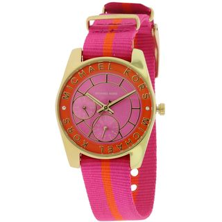 Michael Kors Women's MK2401 'Ryland' Chronograph Pink Nylon Watch