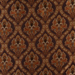 A0016B Brown Gold Persimmon Ivory Traditional Brocade Upholstery Fabric