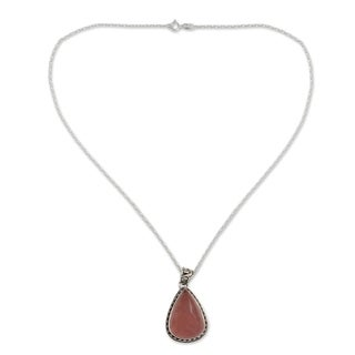 Love Drop Teardrop Rose Quartz Set in Oxidized 925 Sterling Silver Ornate Bezel and Bail Womens Pendant Necklace (India)