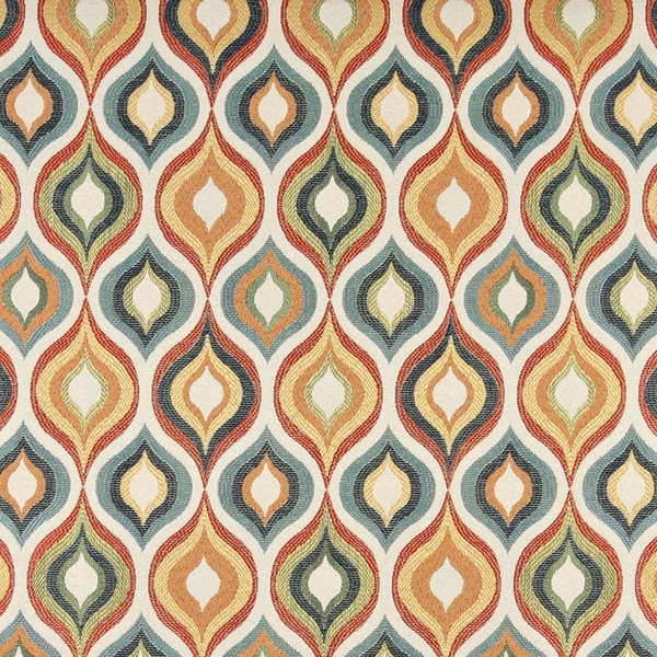 A0019A Red Green Blue Orange Gold Bright Contemporary Fabric (By The Yard)