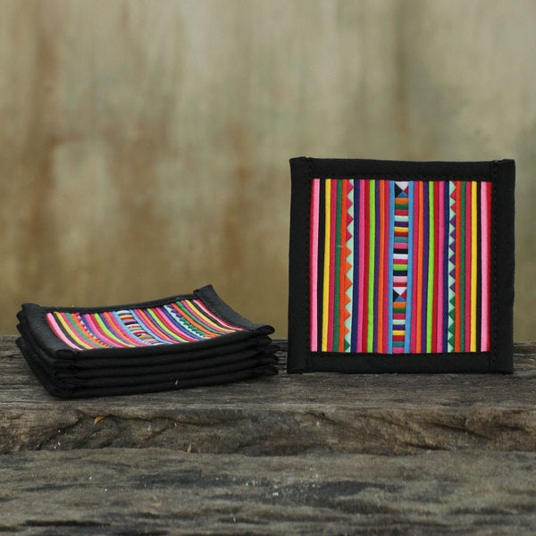 Set of 6 Handcrafted Cotton 'Lahu Festivity' Coasters (Thailand) 15669411