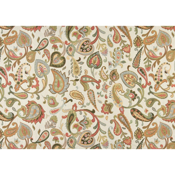A0021B Green Red Yellow Off White Floral Paisley Contemporary Fabric (By The Yard)