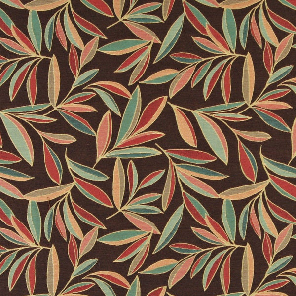 A0022B Red Blue Green Brown Leaves Contemporary Upholstery Fabric 15669450