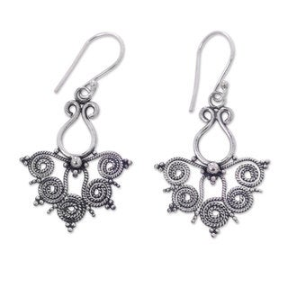 Handcrafted Sterling Silver 'Butterfly Lace' Earrings (Indonesia)