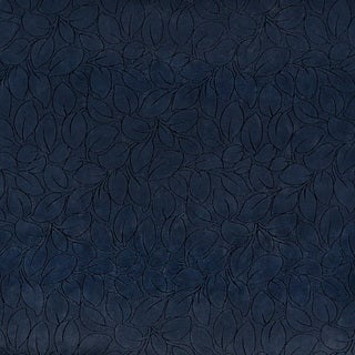 B862 Navy Blue/ Foliage Leaves Microfiber Upholstery Fabric by the Yard