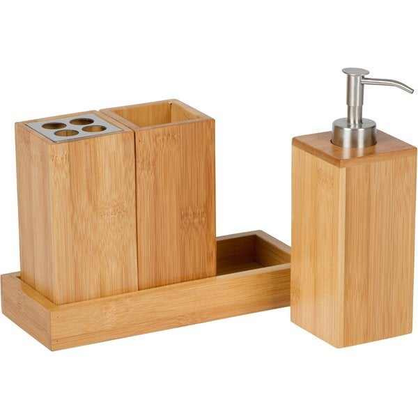 Trademark Innovations Bath Set Natural Bamboo Bath Caddy 15669530