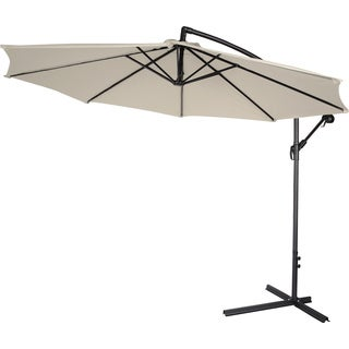 10-inch Deluxe Polyester Beige Offset Patio Umbrella
