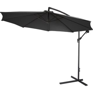 10-inch Deluxe Polyester Black Offset Patio Umbrella