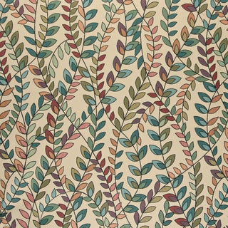 A0027C Teal Green Orange Purple Vines Leaves Contemporary Fabric (By The Yard)