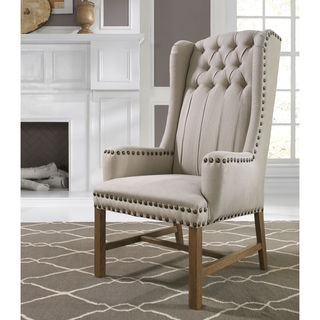 Somette Ashland Natural Hand-tufted Grand Linen Wingback Chair