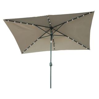 Trademark Innovations Rectangular Solar Powered LED Lighted Patio Umbrella (10' x 6.5')