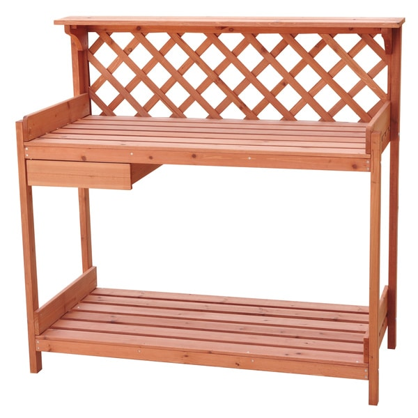 Trademark Innovations Fir Wood Garden Potting Table