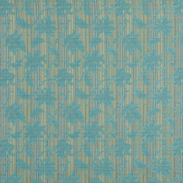 A0040G Turquoise Green Floral Stripe Upholstery Jacquard Fabric (By The Yard)