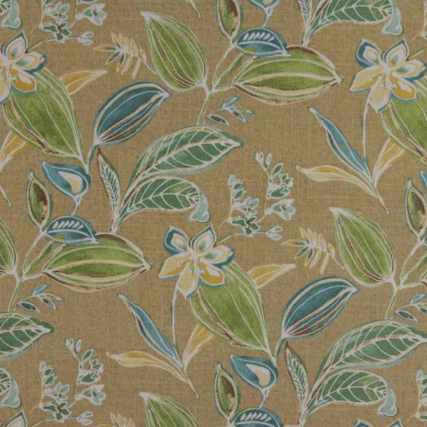 C435 Green Blue Gold Beige Leaf Outdoor Indoor Upholstery Fabric by the Yard