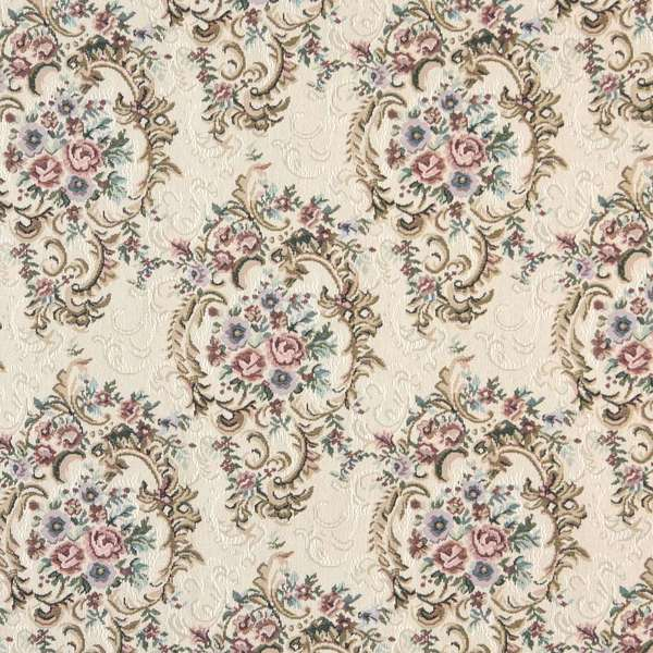 B773 Burgundy Green and Blue Floral Tapestry Upholstery Fabric by the Yard