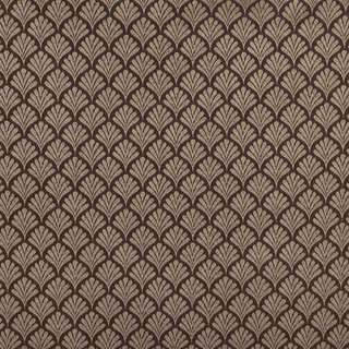 B657 Brown/ Small Scale Fan Woven Jacquard Upholstery Fabric by the Yard