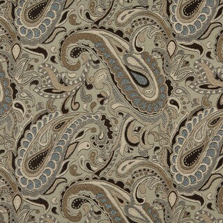 A0110A Brown Blue Tan Paisley Woven Indoor Outdoor Upholstery Fabric (By The Yard)