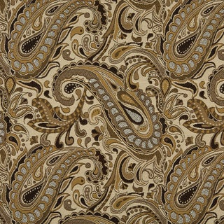 A0110B Brown Beige Gold Tan Paisley Woven Outdoor Upholstery Fabric (By The Yard)