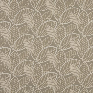 A0137A Gray Beige Leave Woven Indoor Outdoor Upholstery Fabric (By The Yard)