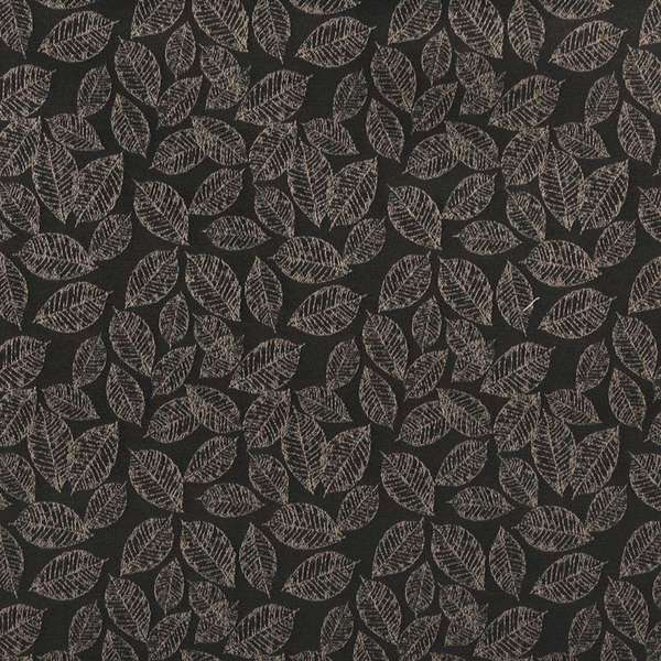 B624 Black/ Floral Leaf Woven Jacquard Upholstery Fabric by the Yard