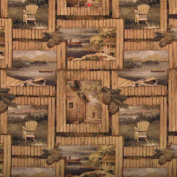 A001 Rustic Cabin Fishing Boat Acorns Themed Tapestry Fabric (By The Yard)