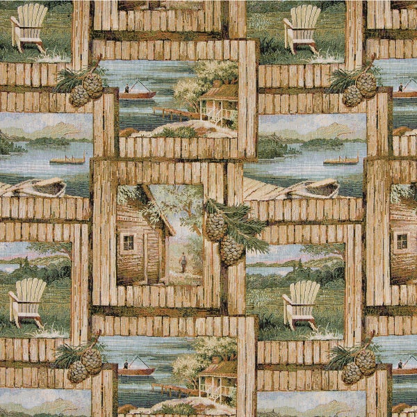 A002 Cabin Scene Fishing Boat Acorns Tapestry Upholstery Fabric (By The Yard)