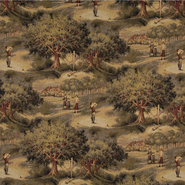 A003 Golfers Golf Course Clubhouse Themed Tapestry Upholstery Fabric (By The Yard)