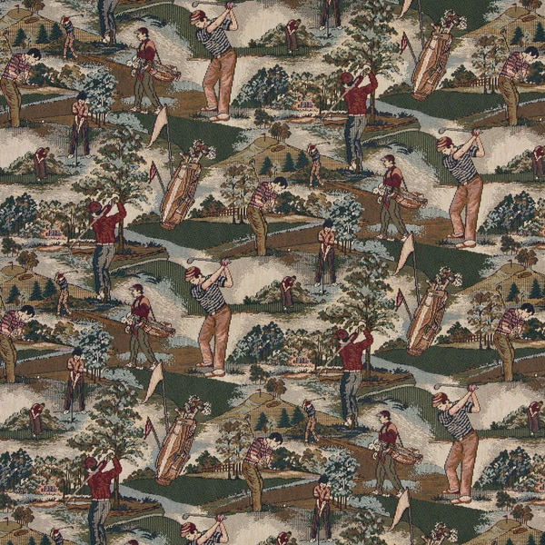 A004 Close-up Golfers Golf Course Tapestry Upholstery Fabric (By The Yard)