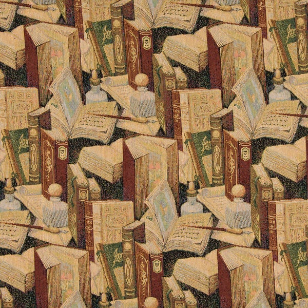 A008 Classic Book Writing Utensil Inkwell Tapestry Upholstery Fabric (By The Yard)