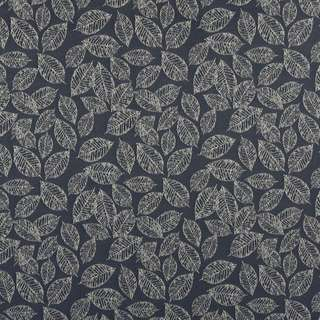 B618 Navy Blue/ Floral Leaf Jacquard Upholstery Fabric by the Yard