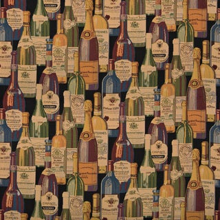 French And Italian Wine Bottles Themed Tapestry Upholstery Fabric (By The Yard)