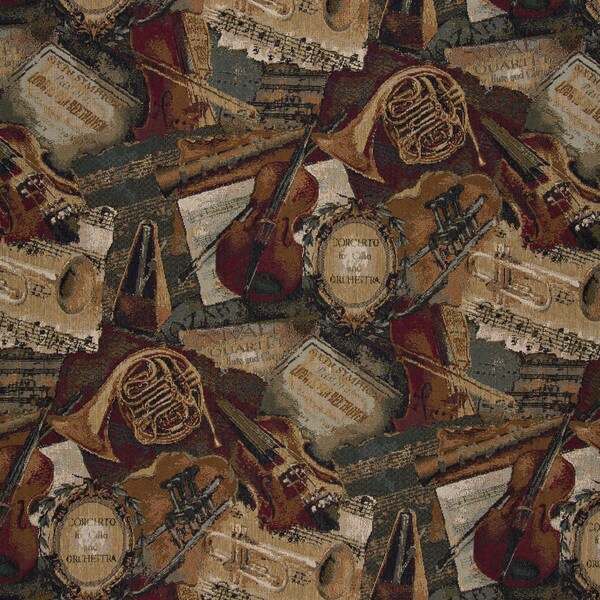 A010 Orchestra Symphony Violins Trumpets Tapestry Upholstery Fabric (By The Yard)
