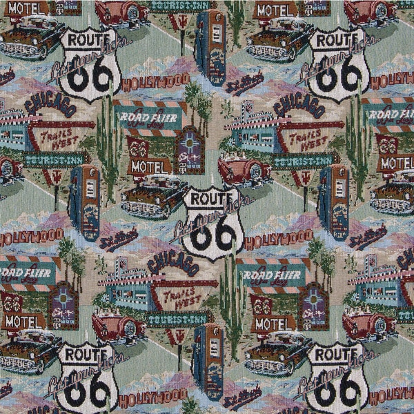 A011 Route 66 Motel Diner Gas Pump Tapestry Upholstery Fabric (By The Yard)