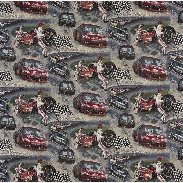 A012 Racing Cars Pit Crew Checkered Flag Racetrack Tapestry Fabric (By The Yard)