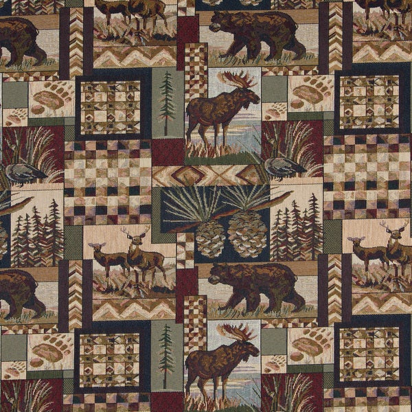 A014 Bears Dear Moose Acorns Pine Trees Tapestry Upholstery Fabric (By The Yard)