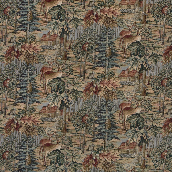 A016 Wilderness Dear Cabins Trees Leaves Tapestry Upholstery Fabric (By The Yard)