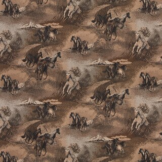 A021 Beige Wild Horses Galloping Themed Tapestry Upholstery Fabric (By The Yard)
