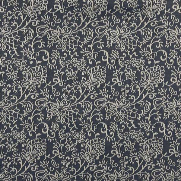 B600 Navy Blue/ Floral Jacquard Upholstery Fabric by the Yard