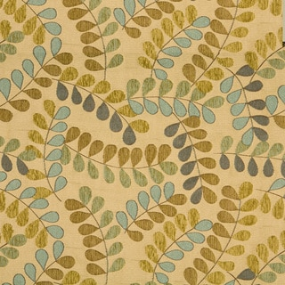 Teal And Beige Leaves And Vines Textured Matelasse Upholstery Fabric (By The Yard)