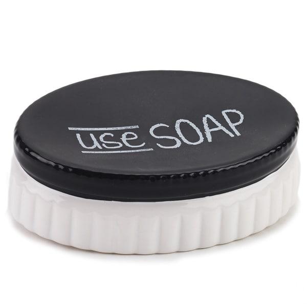Chalk It Up White/ Black Ceramic Soap Dish