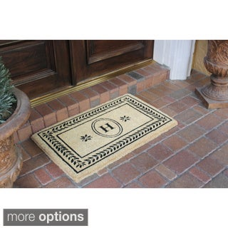 Leaf Border Coco Fibre Entry Mat Monogrammed (22x36 inches)