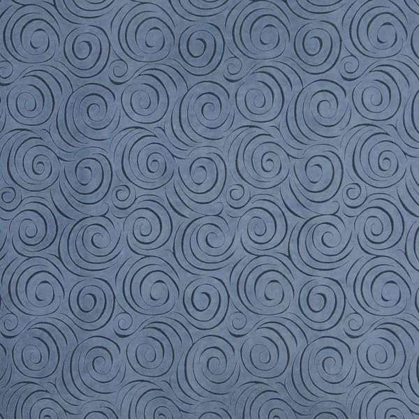 B308 Blue Abstract Swirl Microfiber Upholstery Fabric by the Yard