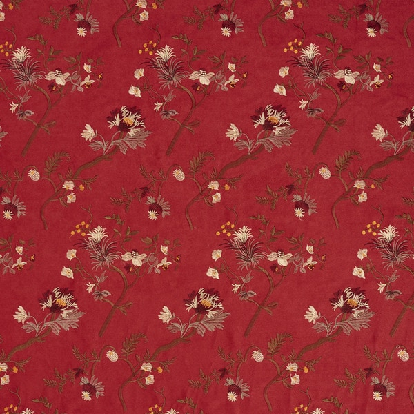 Burgundy/ Ivory/ Green and Copper Floral Suede Upholstery Fabric by the Yard