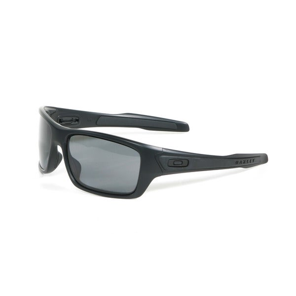 Oakley Matte Black Turbine Sunglasses with Grey Polarized Lenses