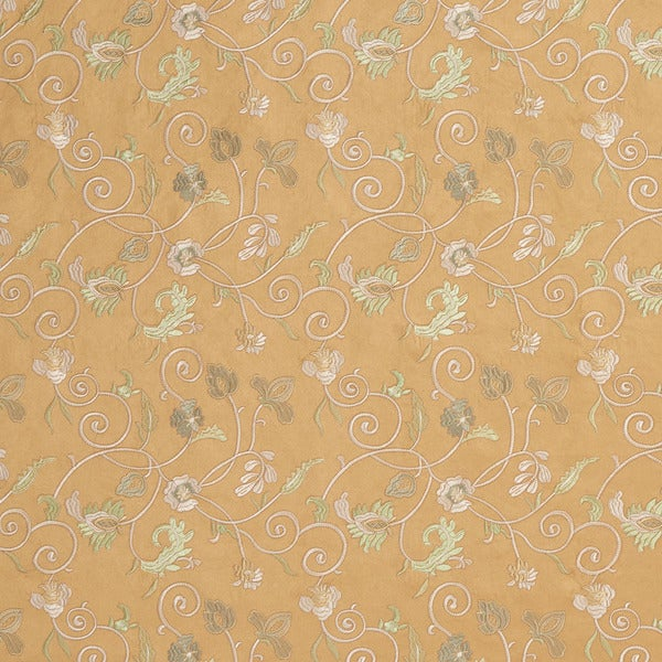 Gold/ Ivory and Green Suede Stitched Vines Suede Upholstery Fabric by the Yard